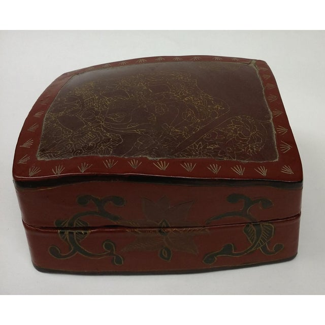 Large Chinese Red Lacquered Porcelain Lidded Box - Image 10 of 11
