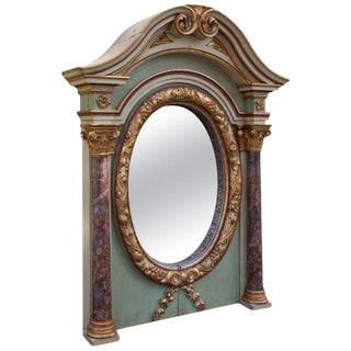Italian Painted Over Mantel Mirror, 19th Century For Sale