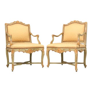 100% Original Antique Italian Painted Louis XV Armchairs - A Pair For Sale