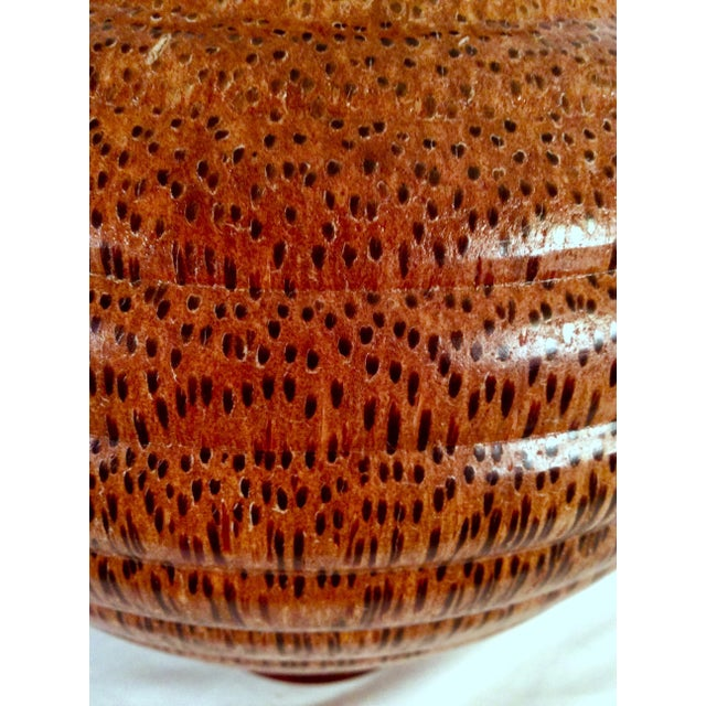 1991 Boho Chic Large Artisan Turned Bloodwood Palm Beehive Vase by John Penrod (Signed) For Sale - Image 11 of 13
