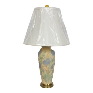 Phoenix Blue Flowers Consolidated Glass Table Lamp For Sale