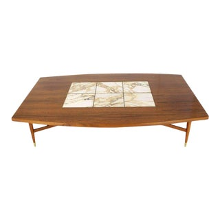 Large Oversize Boat Shape Rosewood & Walnut Coffee Table Brass Inlay Marble Tile