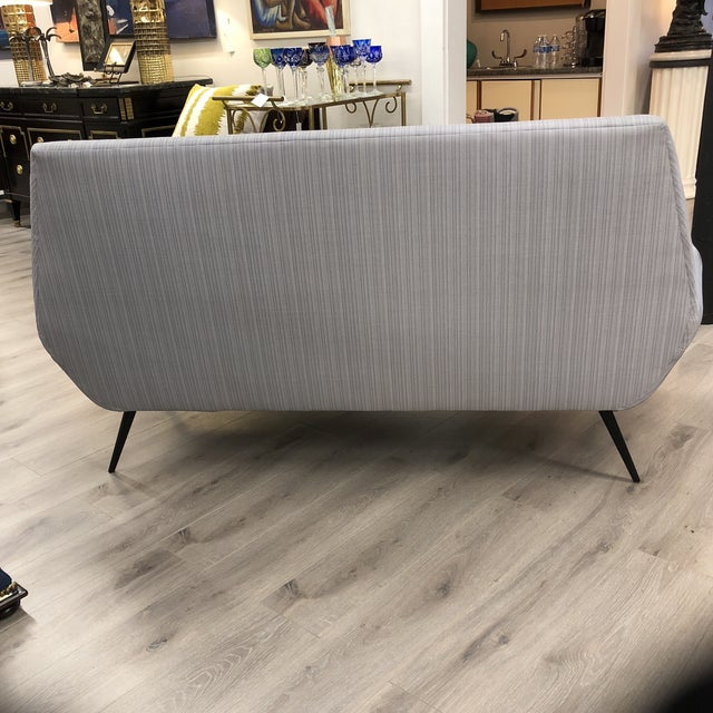 Gray Midcentury Settee For Sale - Image 8 of 9