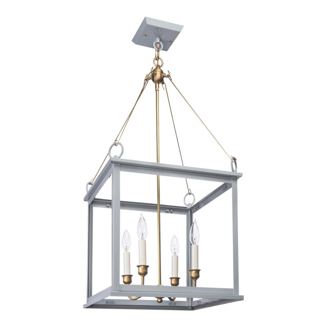 Lantern & Scroll Midtown Collection Hanging Light, Grey For Sale