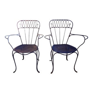 1940's French Jean Royère Style Wrought Iron Garden Chairs - a Pair For Sale
