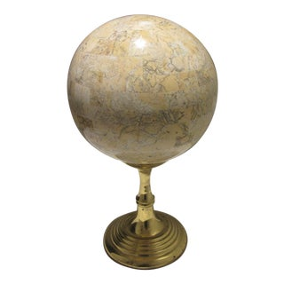 1970s Mid Century Maitland Smith Modern Travertine Tessellated Sphere on Brass Stand For Sale