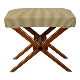 French Art Deco X Frame Upholstered Stool For Sale