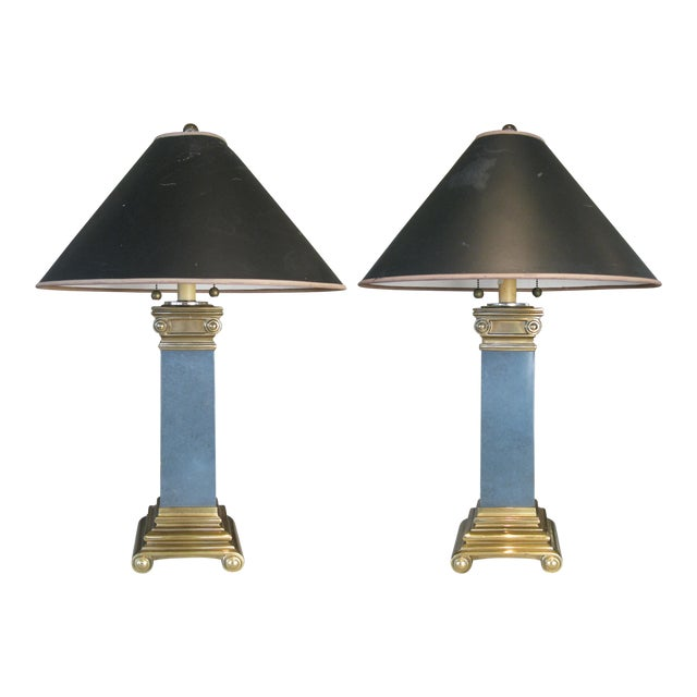 Pair of Brass and Lacquer Column Lamps by Chapman For Sale