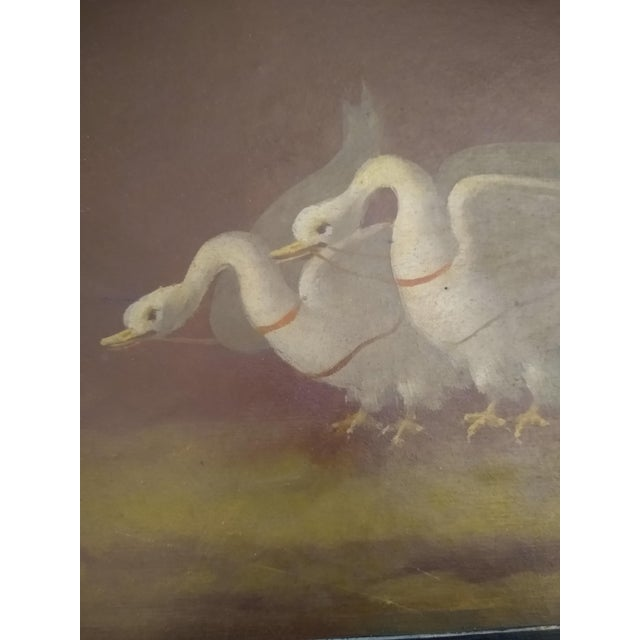 Late 19th Century Late 19th Century Antique Goose Cart and Putti Child Italian Oil Painting For Sale - Image 5 of 10