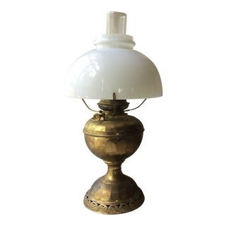 Antique Brass Electrified Oil Lamp with Milk Glass Shade For Sale