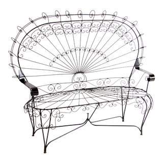 Vintage John Salterini Peacock Wrought Iron Garden Bench / Settee For Sale