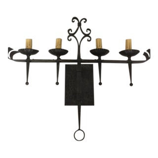 Spanish Gothic Wrought Iron 4 Light Wall Sconce For Sale