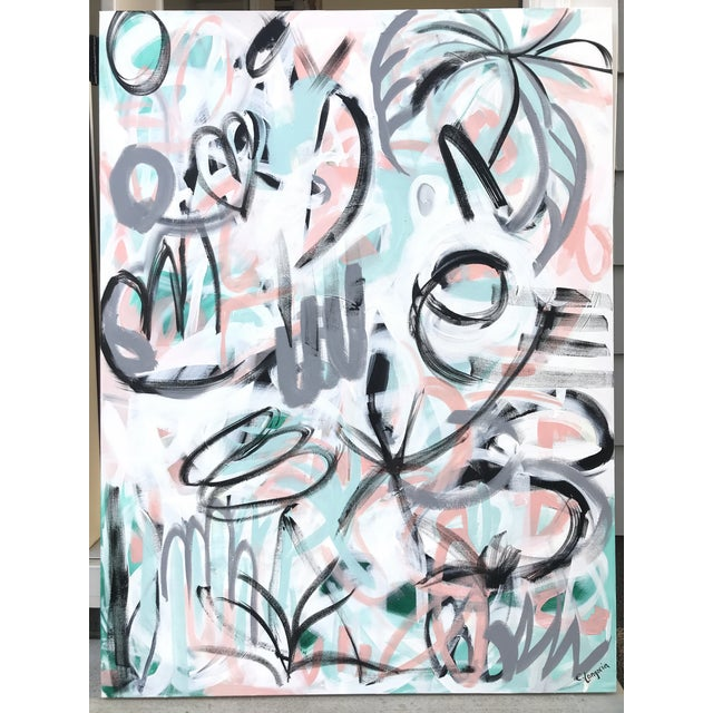"""Christina Longoria """"Graffiti on a Wednesday"""" Abstract Painting For Sale - Image 4 of 4"""