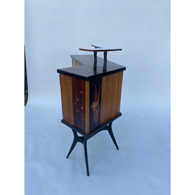 Late 1950's Mid Century Inlaid Bar For Sale - Image 4 of 11
