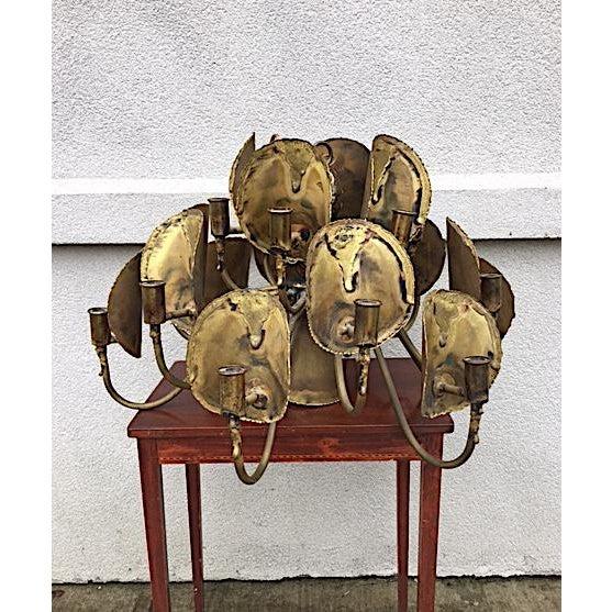 1970s Tom Green for Feldman Brutalist Brass Chandelier For Sale - Image 5 of 5
