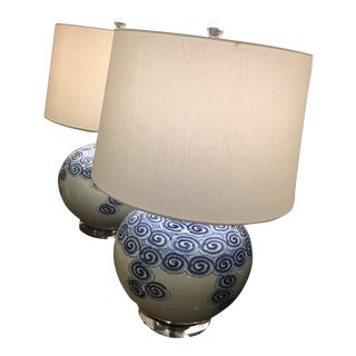 Blue & White Large Lamp
