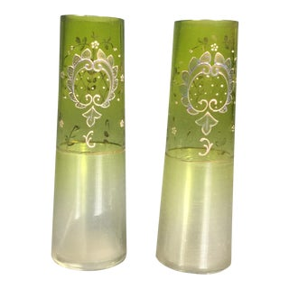 Pair of Bohemian Art Deco Moser Attributed Decorated Bud Vases, 1925 For Sale
