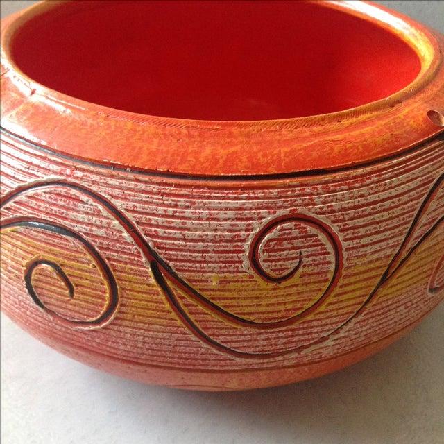 Primitive Vintage Orange Ceramic Hanging Planter For Sale - Image 3 of 9