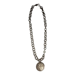 Coin Necklace/ Bracelet With Fresh Waster Pearl on Brass For Sale