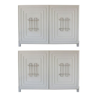 Custom Designed White Enamel Cabinets - a Pair For Sale