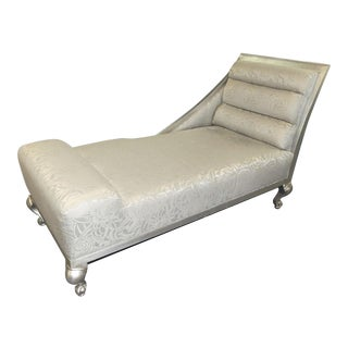 Hollywood Regency Silver Gilt Wood Chaise Lounge For Sale