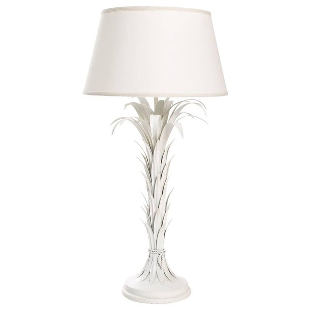 Palm Leaf Tole Lamp For Sale - Image 10 of 10