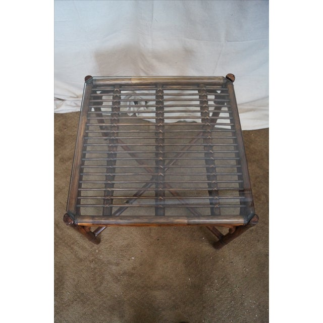 McGuire Rattan Bamboo Square Glass Top Side Table - Image 7 of 10