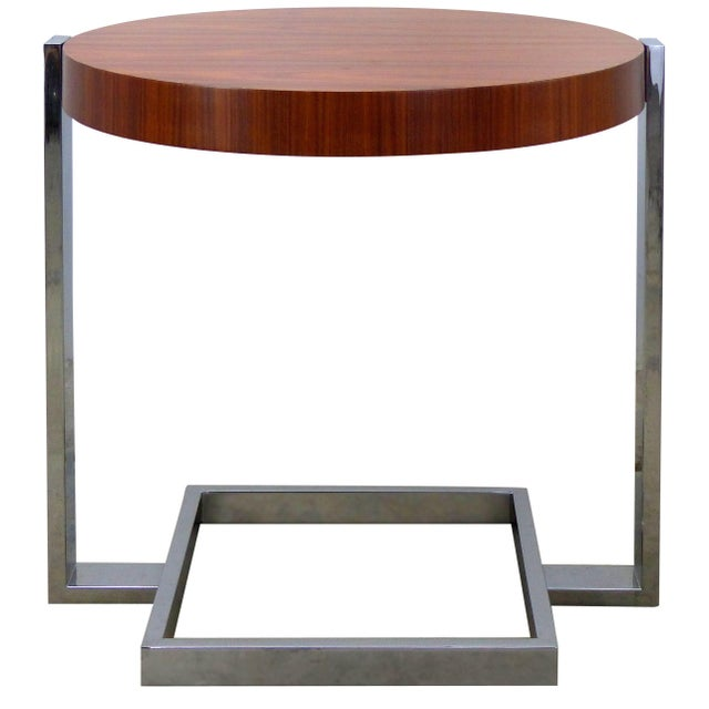 La Spada & Mazza for Medea, Side Table in Palisander Wood and Chrome Italy For Sale - Image 9 of 9