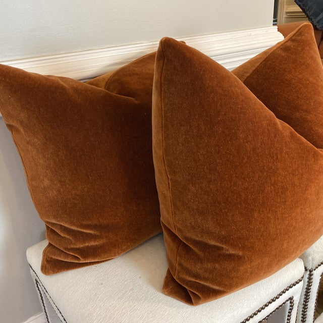 "Mohair Velvet in Spice 22"" Pillows-A Pair For Sale - Image 4 of 8"