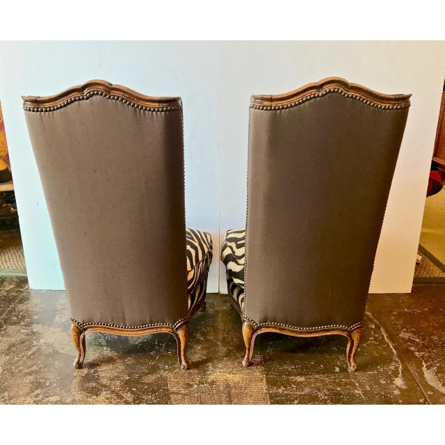 Early 20th Century Vintage French Walnut Chauffeuse Slipper Chairs- A Pair For Sale In Los Angeles - Image 6 of 11