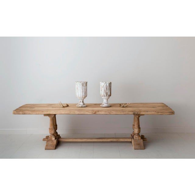 19th Century French Large Bleached Oak Provençal Style Trestle Table For Sale - Image 12 of 13