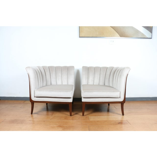 Mohair Hollywood Regency Pair of Chairs For Sale - Image 13 of 13