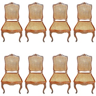 19th Century Carved Walnut Dining Chairs - Set of 8
