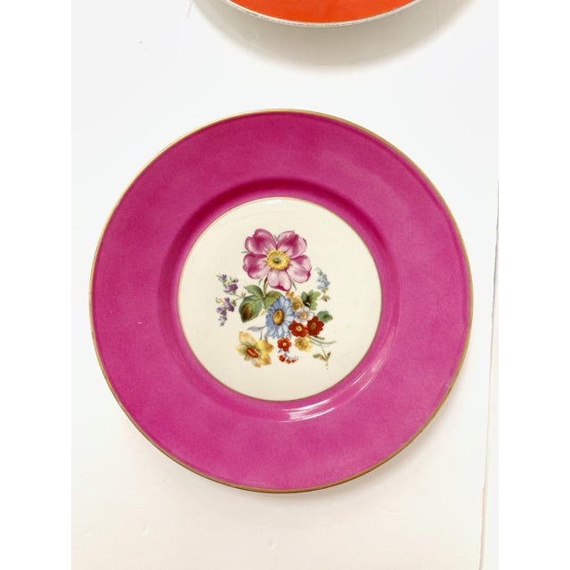 Fabulous vintage set of 5 Richard Ginori colorful porcelain salad / dessert plates with beautiful flowers designs and a...