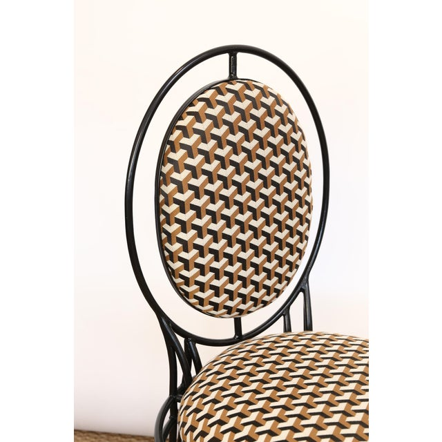 Hollywood Regency Upholstered Oval Back Chairs - a Pair For Sale - Image 3 of 8