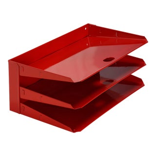 Mid Century Office Mail Organizer, Refinished in Red For Sale