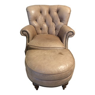 Modern Century Furniture Leather Tufted Chair & Ottoman For Sale