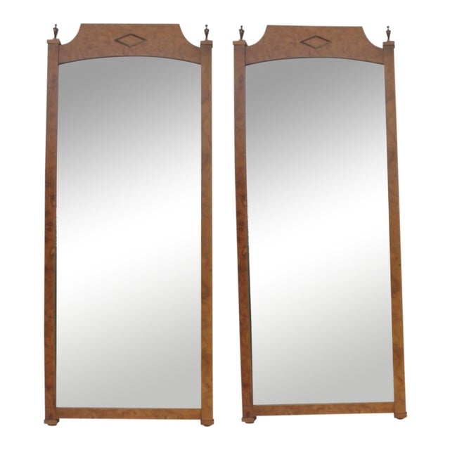 Burlwood & Brass Wall Mirrors - A Pair - Image 1 of 11