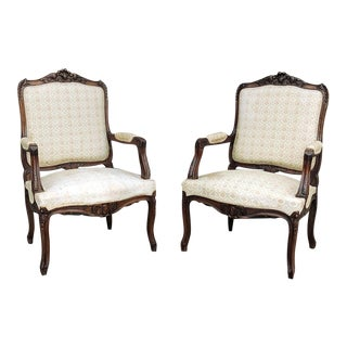 Pair 19th Century French Regence Walnut Armchairs ~ Fauteuils For Sale