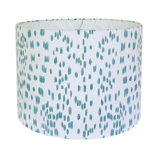 New, Made to Order, Les Touches in Aqua, Large Drum Shade For Sale