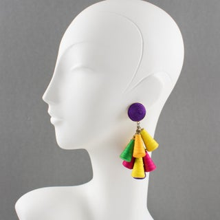 Oversized Italian Thread Dangling Clip on Earrings With Multicolor Charm Preview