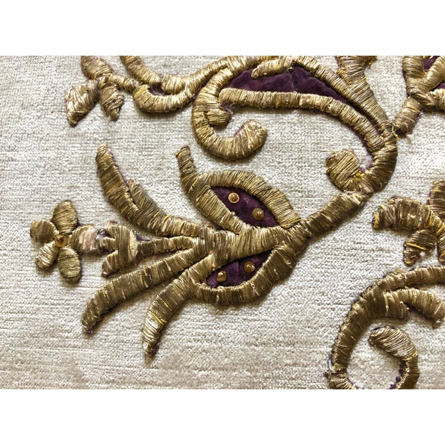 Velvet Pillow With 19th Century Metallic Gold Wire Floral Embroidery For Sale In West Palm - Image 6 of 13