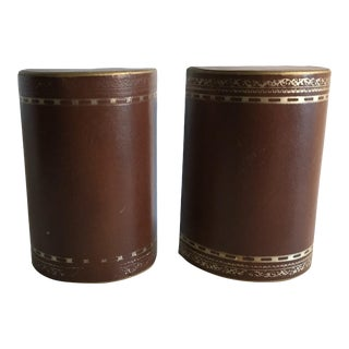 Vintage Leather Wrapped Weighted Bookends - a Pair For Sale