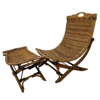 Vintage Rattan Sling Chair With Ottoman