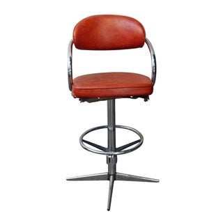 Chromcraft Mid-Century Orange Vinyl Swivel Chair Preview