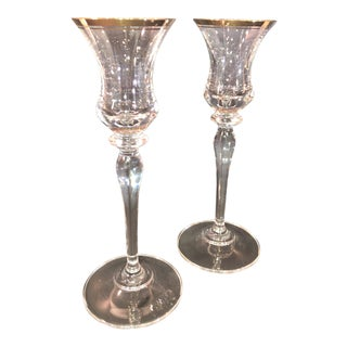 Mikasa Jamestown Clear Gold Rimmed Single Candle Holders Pair Cordial Glasses Crystal Collectible For Sale