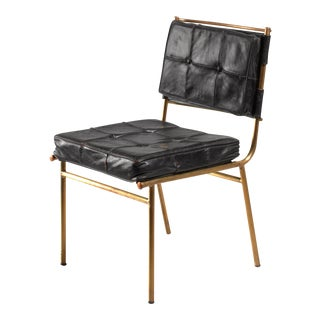 Mathieu Mategot Chair with Brass Frame and Leather Seat and Back