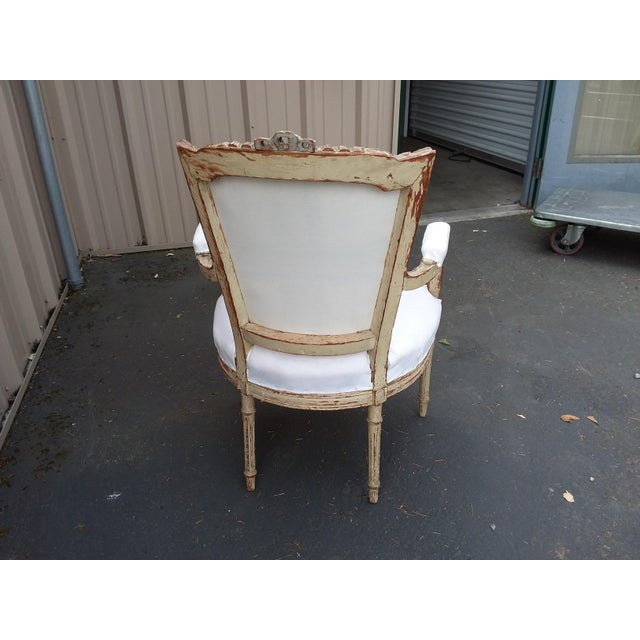 Paint 18th Century French Antique Armchair For Sale - Image 7 of 8