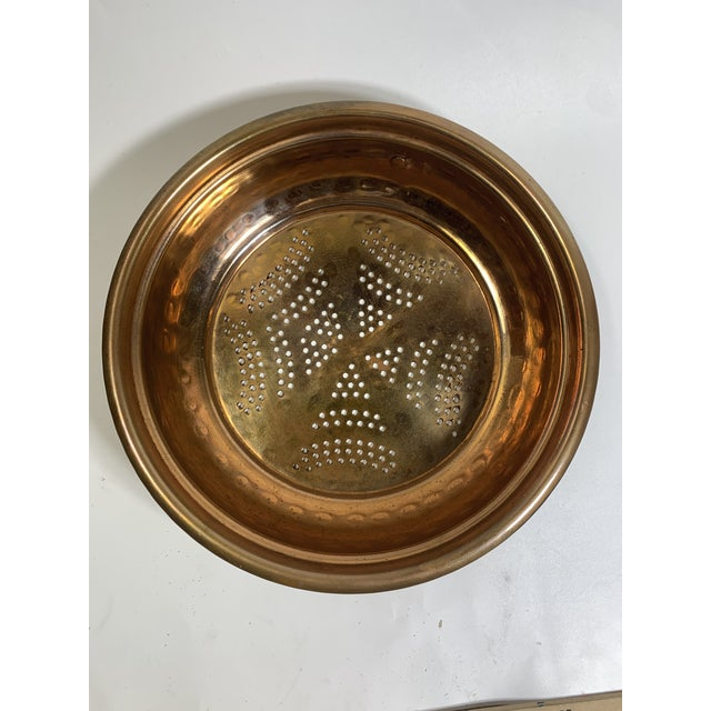 Vintage copper pierced hanging colander/strainer. Useful and decorative item for a shabby rustic look. Hammered copper...