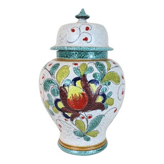 1950's Hand Painted Italian Floral Ginger Jar For Sale